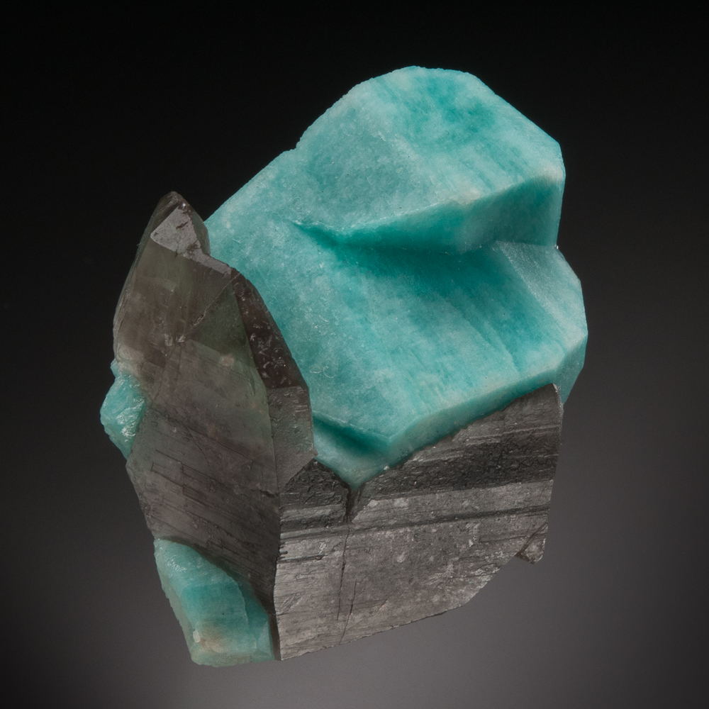 Microcline var. Amazonite with Smoky Quartz, Jack Rabbit Mine, Crystal Creek nr Crystal Peak, Lake George District, Teller Co., Colorado, USA.