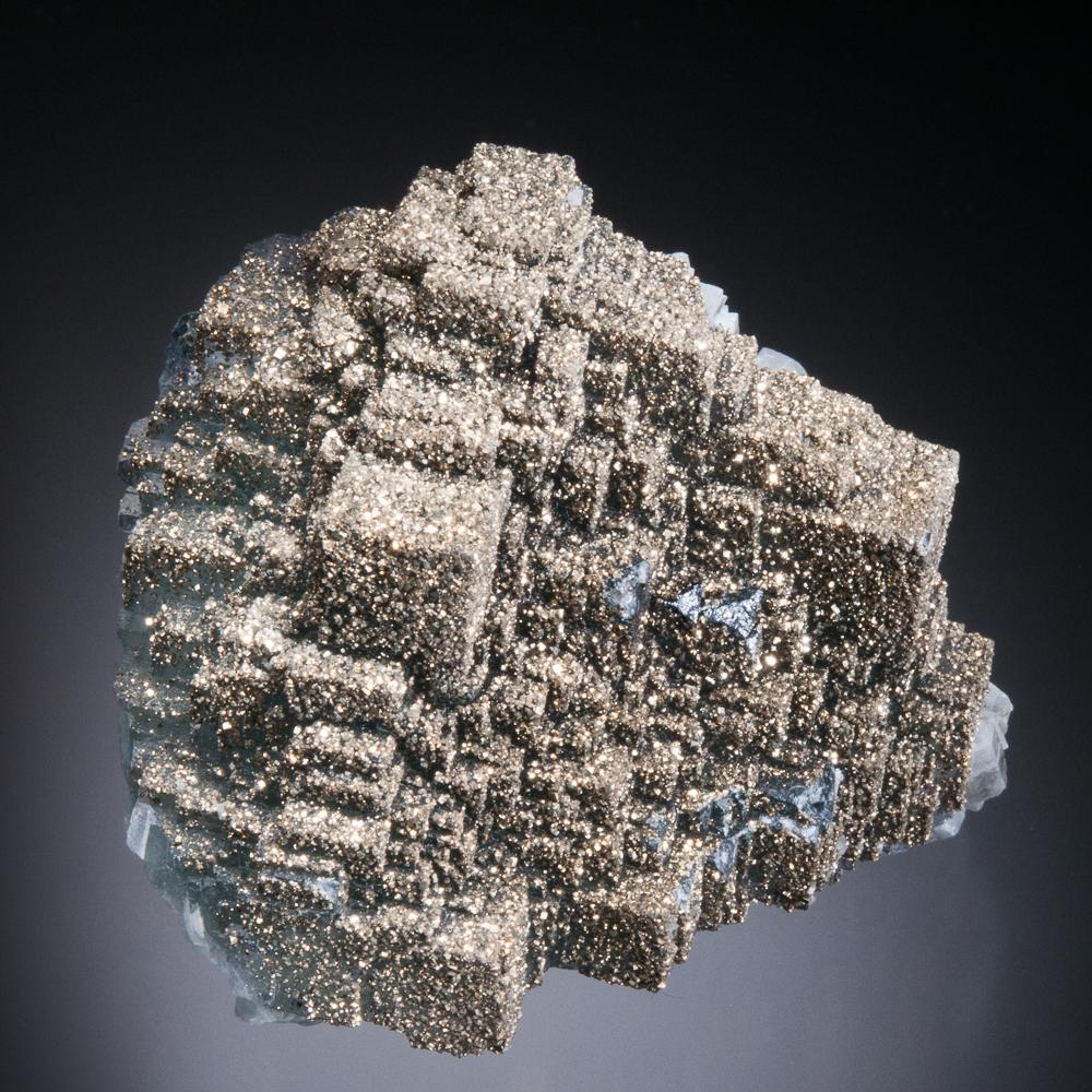 Fluorite coated with Pyrite, El Hammam Mine, Meknes, Meknes-Tafilalet Region, Morocco