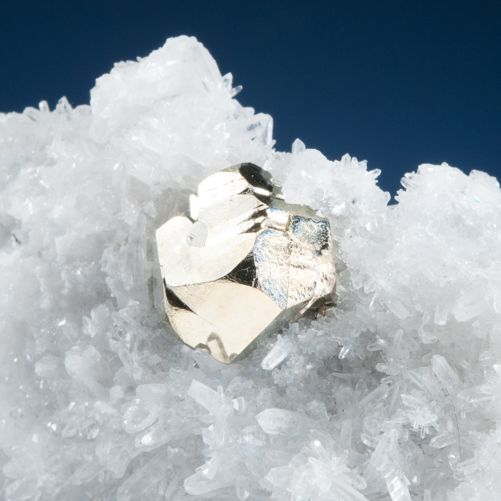 Pyrite on Quartz, Huanzala Mine, Huallanca District, Dos de Mayo Province, Huanuco Dept., Peru