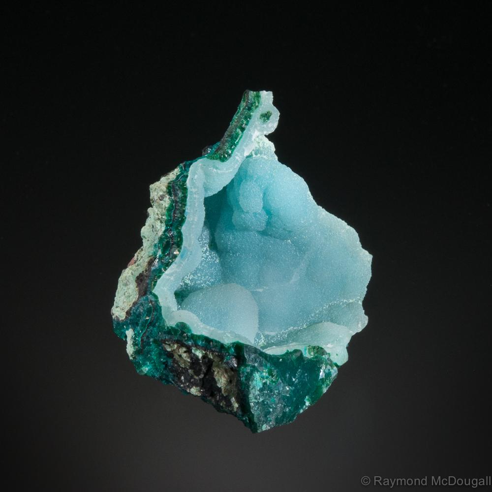 Quartz on Chrysocolla, Ray Mine, Pinal Co., Arizona, US