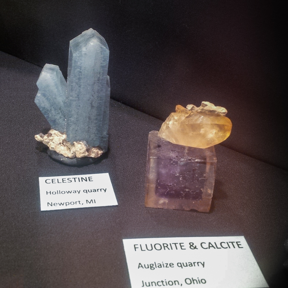 Celestine from Holloway Quarry, Fluorite from Auglaize Quarry
