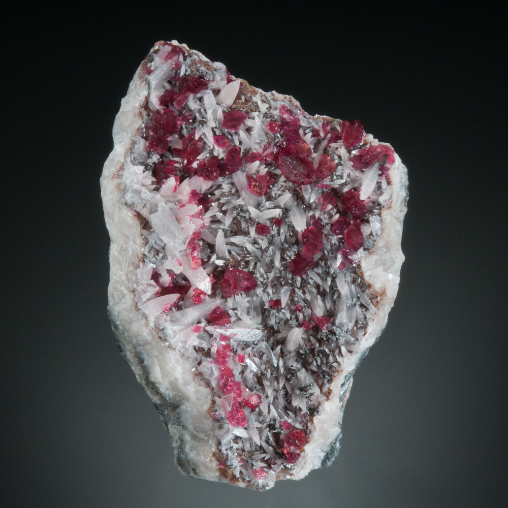 Roselite on calcite, Bou Azzer District, Tazenakht, Ouarzazate, Morocco
