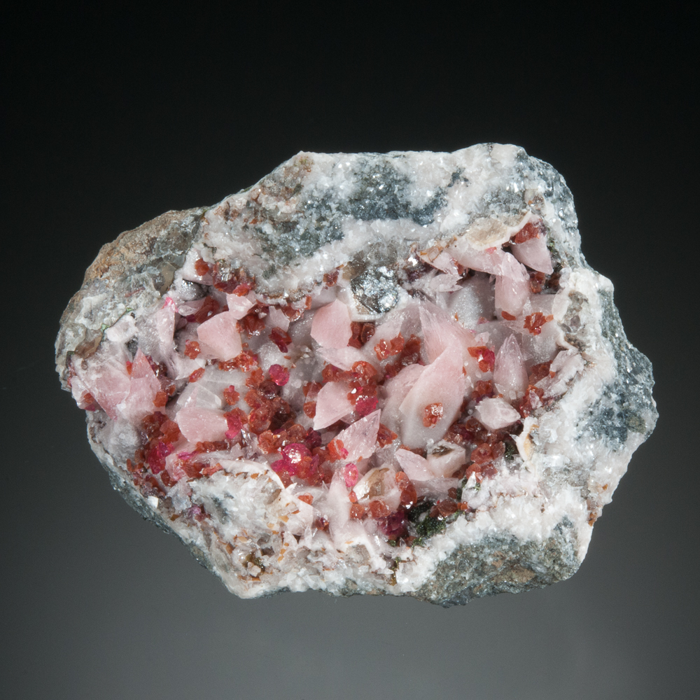 Roselite, epitactic on beta-roselite, with cobaltausitnite, on cobaltoan calcite, Bou Azzer District, Tazenakht, Ouarzazate, Morocco