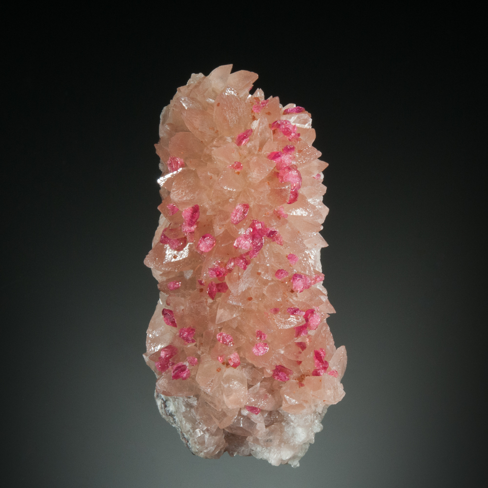 Roselite with minor beta-roselite, on calcite, Agoudal Mine, Bou Azzer District, Tazenakht, Ouarzazate, Morocco