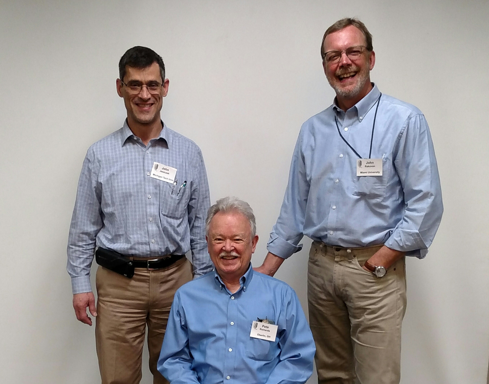John Jaszczak, Pete, John Rakovan at the Rochester Symposium, 2019